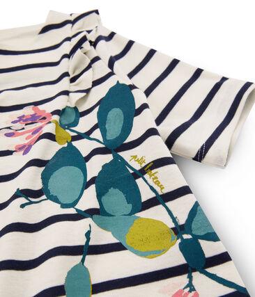 Girls' T-Shirt Coquille beige / Abysse blue