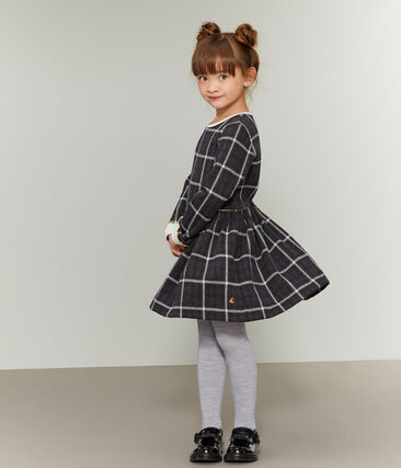 Girls' Checked Knit Dress City black / Multico white