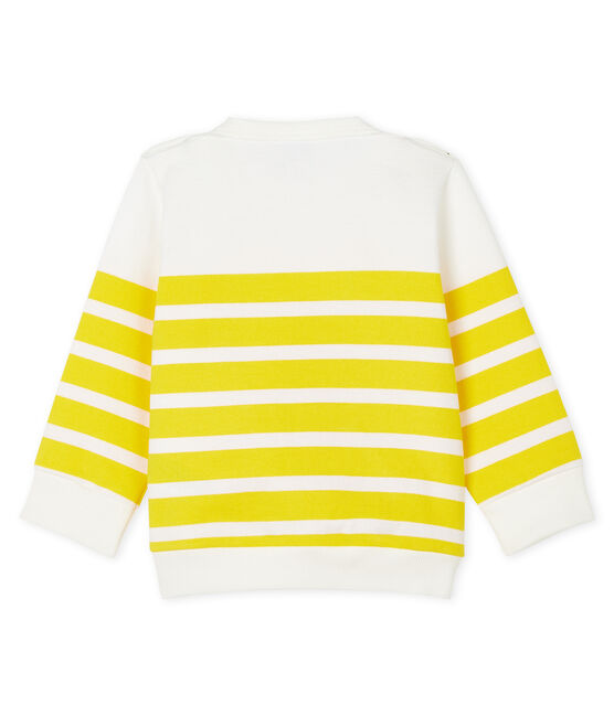 Baby boys' striped sweatshirt Marshmallow white / Shine yellow