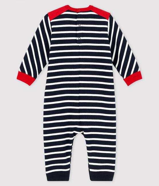Baby boy's long playsuit Smoking blue / Marshmallow white