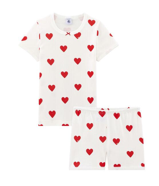 Girls' cropped ribbed pyjamas Marshmallow white / Terkuit red