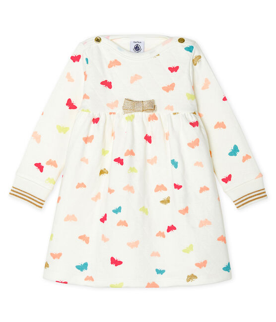 Baby Girls' Long-Sleeved Print Dress Marshmallow white / Multico white