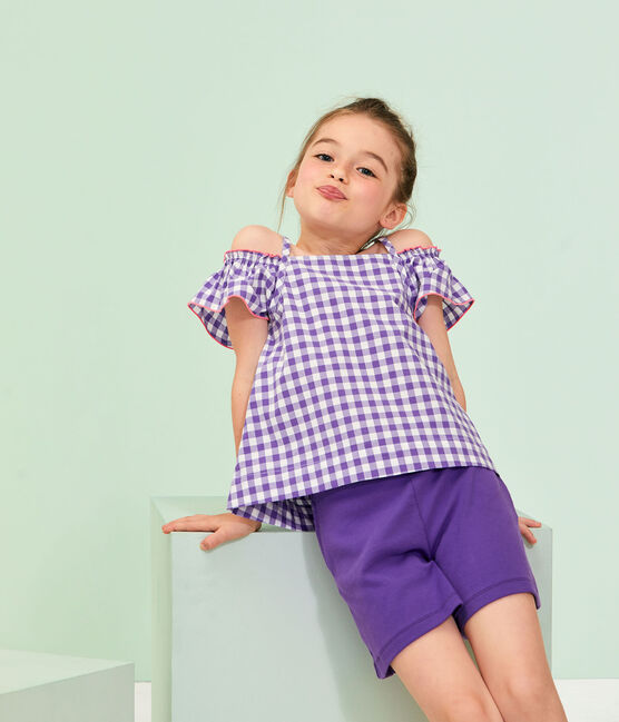 Girls' Blouse Real purple / Marshmallow white