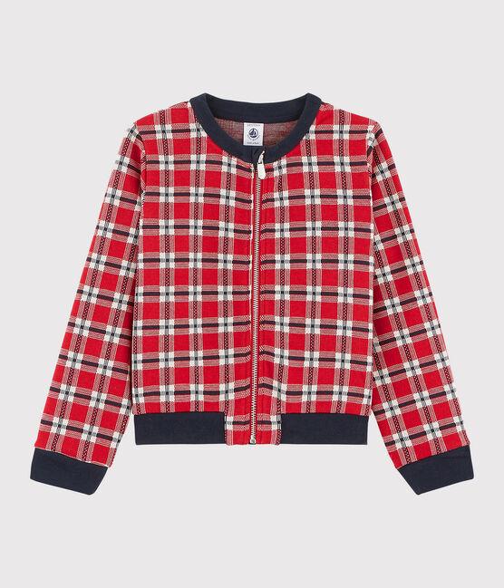 Girls' Checked Cardigan Terkuit red / Multico white