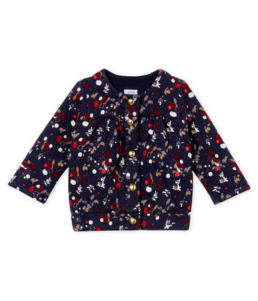 Baby girl's printed quilted cotton tubic cardigan