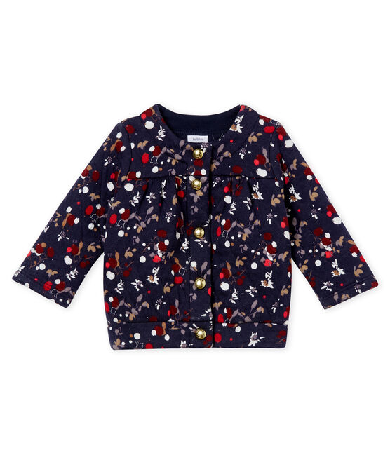 Baby girl's printed quilted cotton tubic cardigan Smoking blue / Multico white