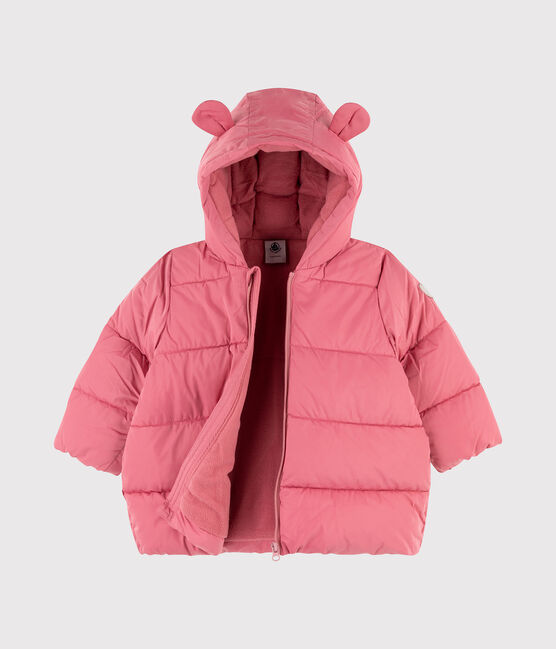 Baby girl's plain quilted puffer jacket Cheek pink