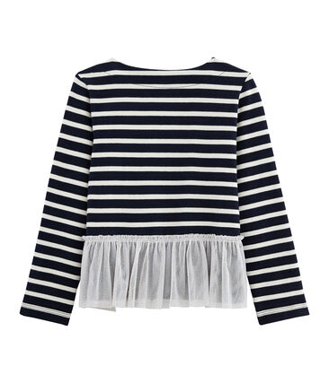 Girl's Long-sleeved Sailor Top Smoking blue / Coquille beige