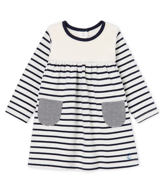 Baby Girls' Long-Sleeved Striped Dress Marshmallow white / Smoking blue