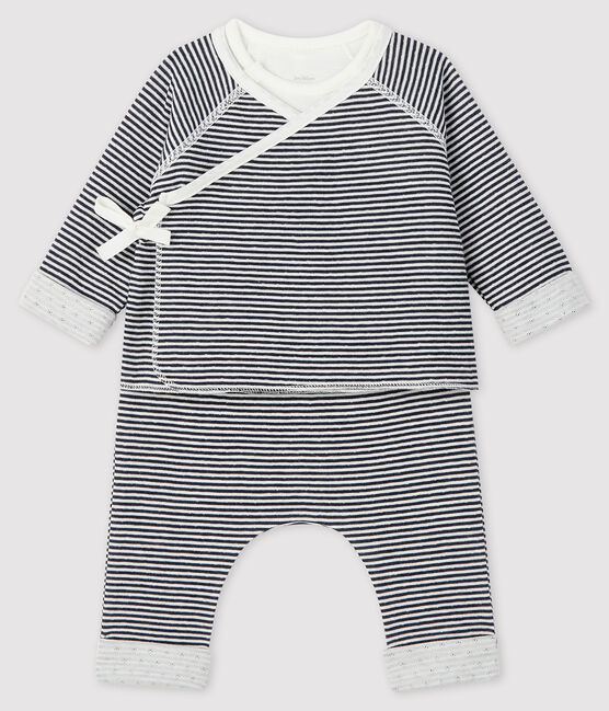 Baby's Tube Knit Three-Piece Smoking blue / Marshmallow white