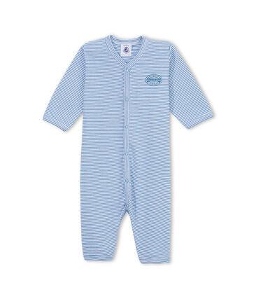 Baby boy's milleraies stripe footless sleeper Alaska blue / Ecume white