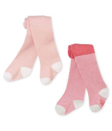 Set of 2 pairs of baby girl's tights