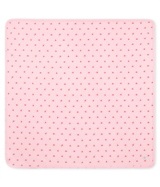 Unisex baby printed blanket Vienne pink / Multico white