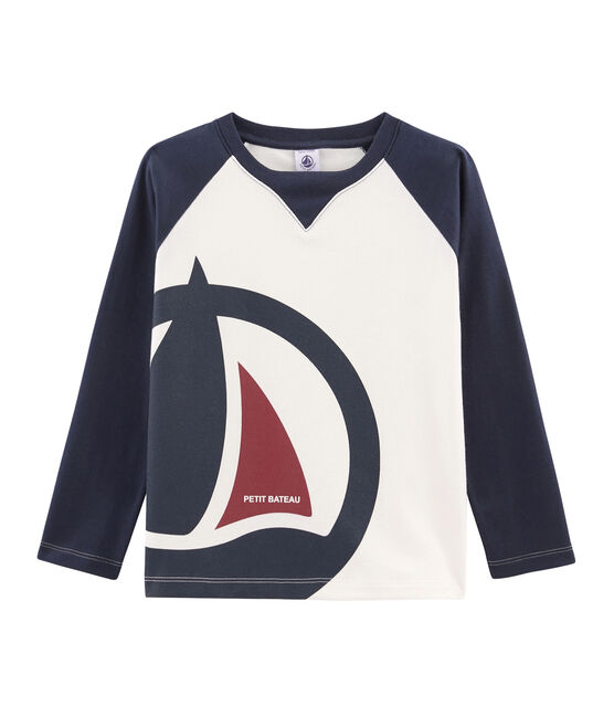 Boys' Long-Sleeved T-shirt Marshmallow white / Smoking blue