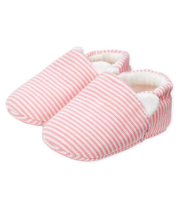 Baby Girls' Ribbed Bootees Charme pink / Marshmallow white
