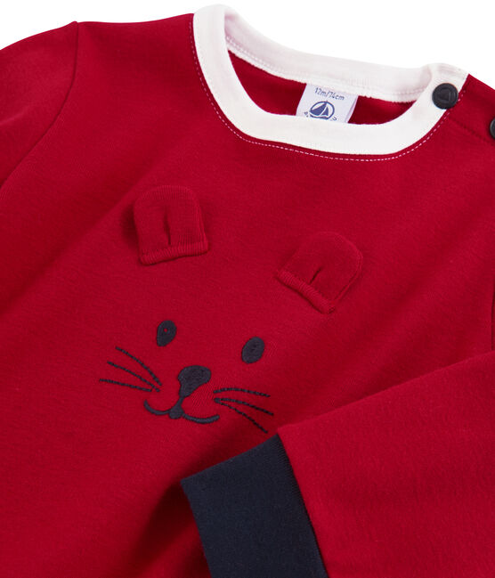Baby boys' knit sweatshirt Terkuit red