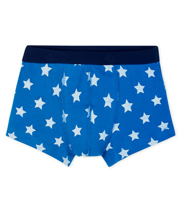 Boys' boxer shorts Riyadh blue / Marshmallow white