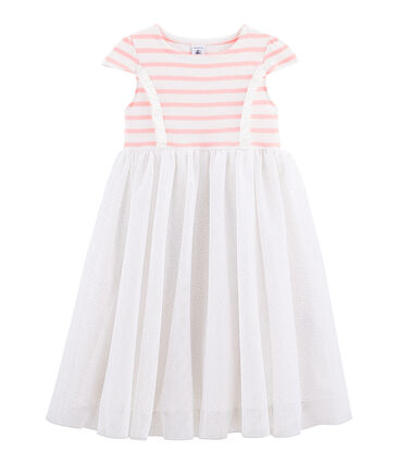 Girls' Short-Sleeved Dress Marshmallow white / Patience pink