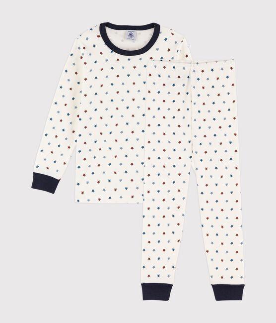 Boys' Boat Print Ribbed Pyjamas Marshmallow white / Multico white