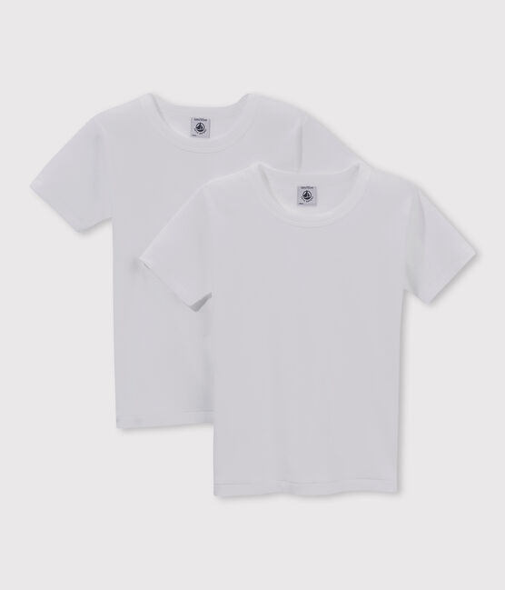 Set of 2 little boys' short-sleeved white t-shirts . set