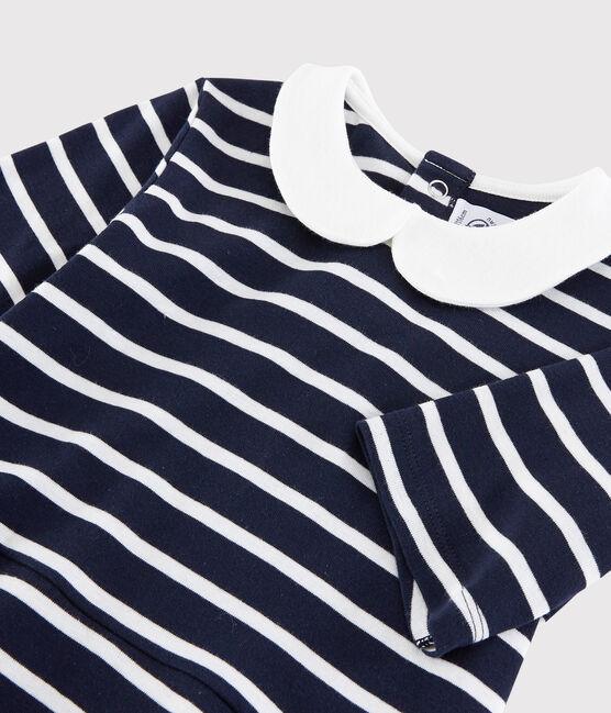 Girls' Short-Sleeved Cotton Dress Smoking blue / Marshmallow white