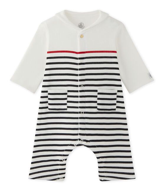 Baby boys' striped all-in-one with pea jacket collar Lait white / Smoking blue