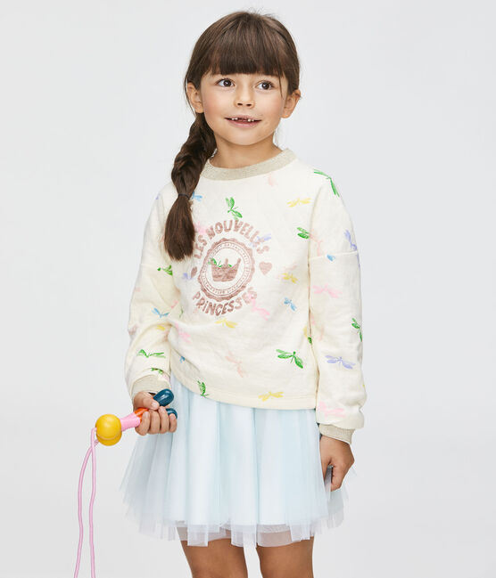 Girls' Sweatshirt Coquille beige / Multico white
