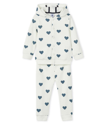 Baby sweat shirt and jogging set Marshmallow white / Astro blue