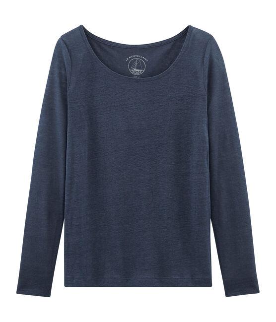 Tee-shirt manches longues femme en lin Haddock blue