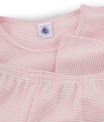 Girls' Ribbed Pyjamas Charme pink / Marshmallow white