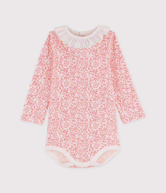 Babies' Long-Sleeved Cotton Bodysuit. Marshmallow white / Gretel pink