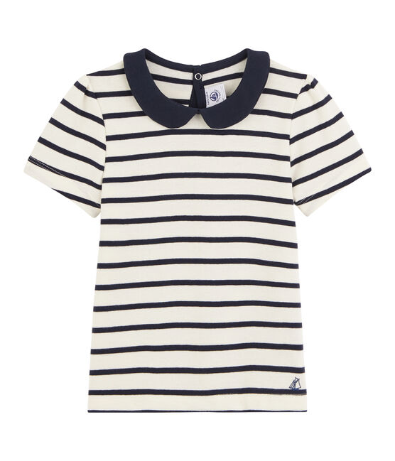 Girls' Short-Sleeved T-Shirt Coquille beige / Abysse blue