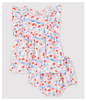 Baby Girls' Sleeveless Floral Organic Cotton Easy-Care Dress with Bloomers Fleur pink / Multico white