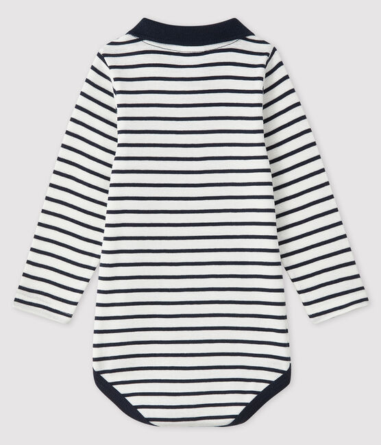 Baby boy's long-sleeved bodysuit Marshmallow white / Smoking blue