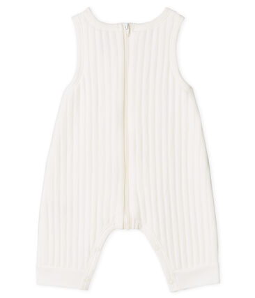Baby Boys' Long Quilted Tube-Knit Dungarees Marshmallow white