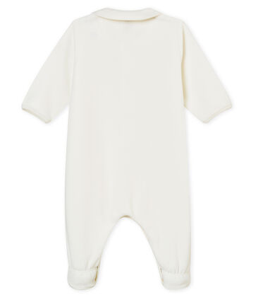 Unisex baby's plain cotton velour sleepsuit