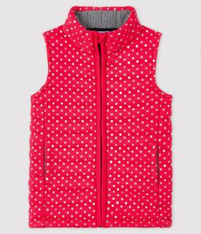 Girls' Sleeveless Jacket POPPY/ARGENT