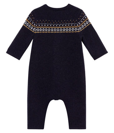 Baby boy's long jacquard knit all•in•one
