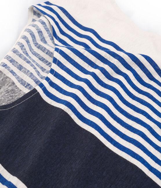 Women's short-sleeved linen t-shirt Marshmallow white / Multico Cn white