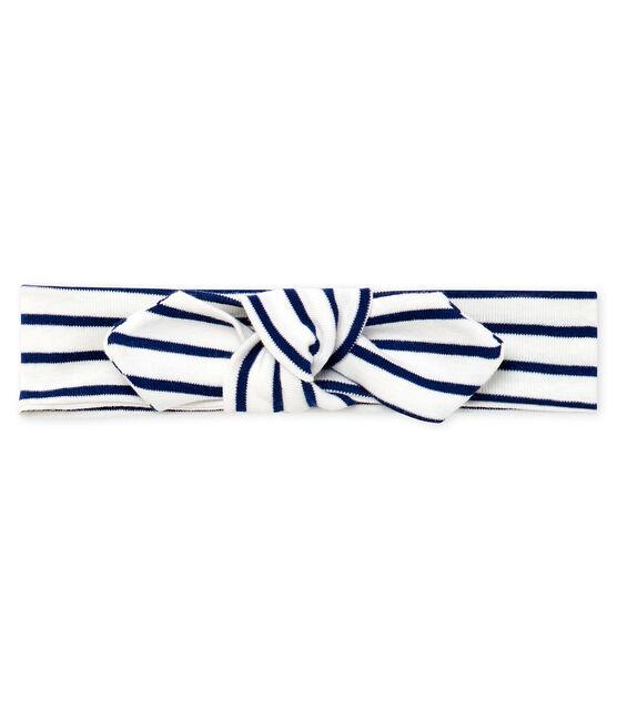 Baby Girls' Striped Headband Marshmallow white / Smoking blue