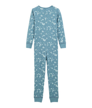 Girls' Long all-in-one in Cotton Fontaine blue / Marshmallow white