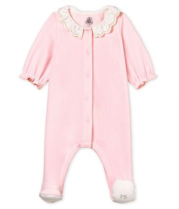 Baby girls' sleepsuit in cotton velour