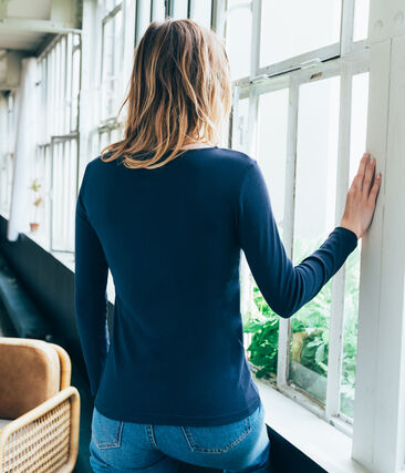 women's long sleeved tee-shirt Smoking blue
