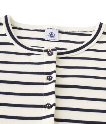 Women's striped cardigan Coquille beige / Smoking blue