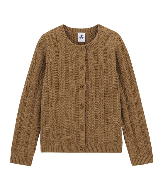 Wool and cotton cardigan Brindille brown