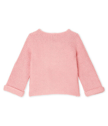 Baby Girl's Wool/Cotton Moss Stitch Cardigan Charme pink