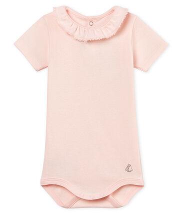 Baby girls' bodysuit with ruff Fleur pink