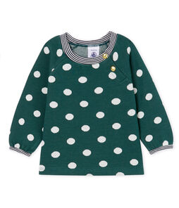 Baby Girls' Long-Sleeved Print Blouse Sousbois green / Marshmallow white
