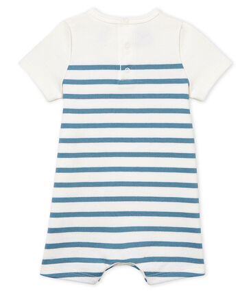 Baby Boys' Short-Sleeved Playsuit Marshmallow white / Fontaine blue