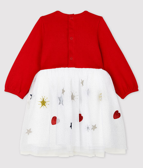 Baby Girls' Long-Sleeved Dress Terkuit red / Multico white